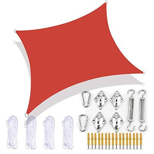 JJIIEE Toldo de Vela para jardín, Parasol Rectangular con Kit de fijación, 4 Cuerdas, Resistente al Agua, 98% de Bloque UV para Patio al Aire Libre, Patio, Fiesta, Playa,Rojo,2X5M