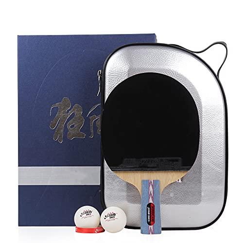 LINGOSHUN Raquetas de Ping Pong Profesional,Mango Acampanado,Aprobado por la ITTF,Juego de Paleta de Ping-Pong para Jugadores de Nivel Intermedio/Avanzado / 1 Pack/Short handle