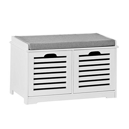 SoBuy Banco de Almacenamiento con Cojines y 2 Cubos de Entrada del Gabinete Dresser Zapato Cómodo Banco FSR23-K-W, ES (Zapatero)