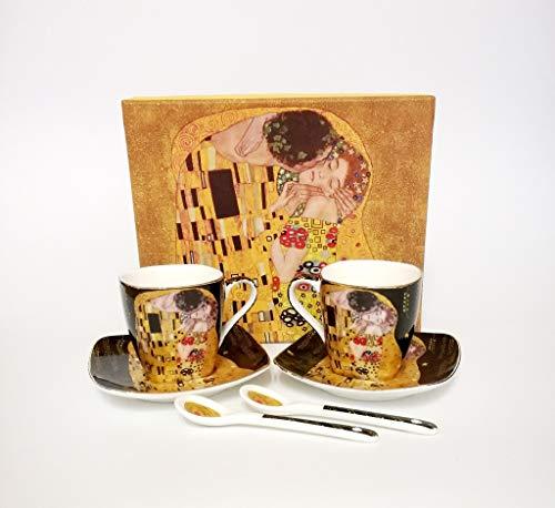 Atelier Harmony Gustav Klimt Espressotassen Der Kuss 6teilig Porzellan (Schwarz)