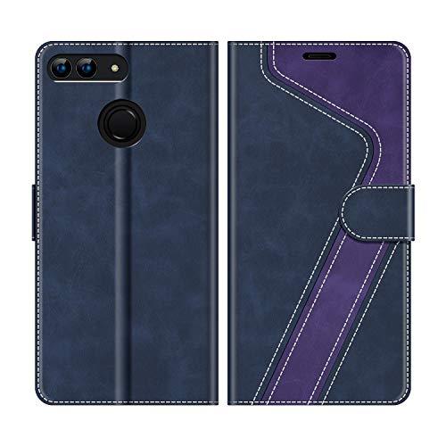"MOBESV Custodia Huawei P Smart 5,65"" Cellulare, Cover a Libro Huawei P Smart, Custodia in Pelle Huawei P Smart Magnetica Cover per Huawei P Smart, Blu Scuro/Viola"