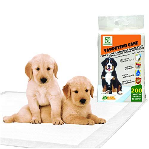Totò Piccinni Tappetini Igienici per Cani e Animali domestici SUPER Assorbenti Antiodore Adesivi 60X90 (200 Traversine)