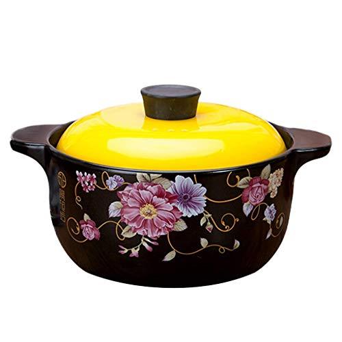HaoLi Cocotte à Soupe à l'oignon, marmite à Soupe pour Riz à ragoût coréen Bibimbap, cocotte Ronde en céramique avec Couvercle, Casserole Saine, Pot en Argile Profonde Pot en Terre Jaune