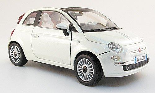Fiat 500 C Cabriolet, met.-weiss, 2009, Modellauto, Fertigmodell, Mondo Motors 1:18