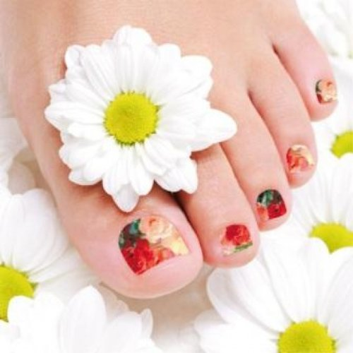 Films à ongles by Glam Stripes – Oil Print Flowers Feet