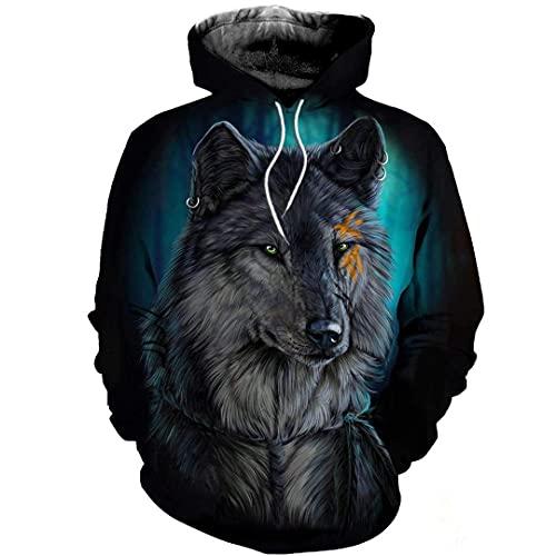 Wolf Pattern 3D Impresión Completa con Capucha Hombres Mujeres Streetwear Spring Boys Hiphop Hoody Sudaderas Sudaderas Tops
