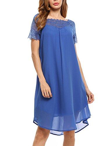 Zeela - Abito casual elegante in chiffon con scollo a barchetta e maniche corte Blu S
