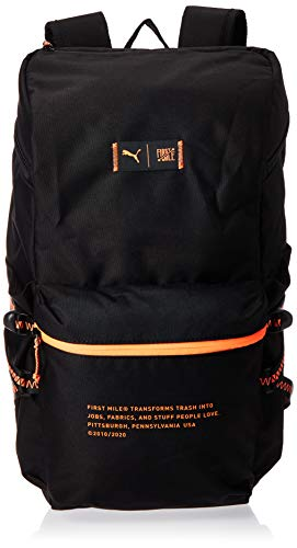 Puma x First Mile Backpack Sac à Dos Mixte Adulte, Black-Fizzy Orange, Taille Unique