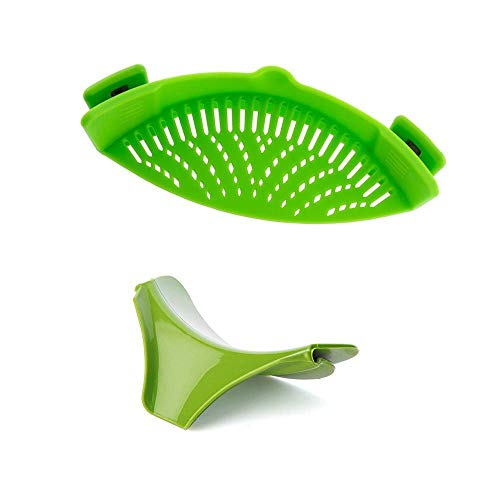 Silicone Clip-on Strainer Colander, Plus Soup Funnel for Pan Universal Size Material/Heat Resistant