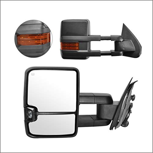 Perfit Zone Towing Mirrors Replacement Fit for 2014-2017 SILVERADO SIERRA, POWER HEATED,W/AMBER SIGNAL,BLACK (PAIR SET)