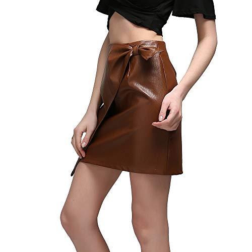 MIBKLPG Faldas para Mujer Mini Faldas Cruzada De Cuero De Cintura Alta Falda Corta
