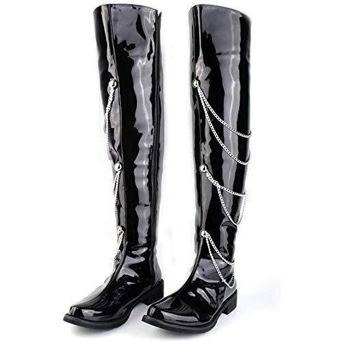 WDZJM Stivali Alti da Uomo, Vernice Artificiale, Stivali da Moto a Catena con Cerniera in Pelle con Cerniera (Color : Black)