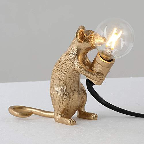 BALLYE Lámpara de Mesa con Forma de ratón, luz de Escritorio de Resina, lámpara de Noche, decoración de habitación de luz (Color: de pie, tamaño: Dorado/au)