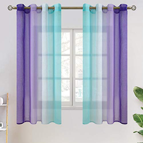 BGment Ombre Sheer Curtains for Kids Room, Faux Linen Grommet Two-Color Linear Gradient and Decorative Window Curtain Panels for Girls Room, Set 2 Panels ( Each 52 x 63 Inch, Teal and Purple )