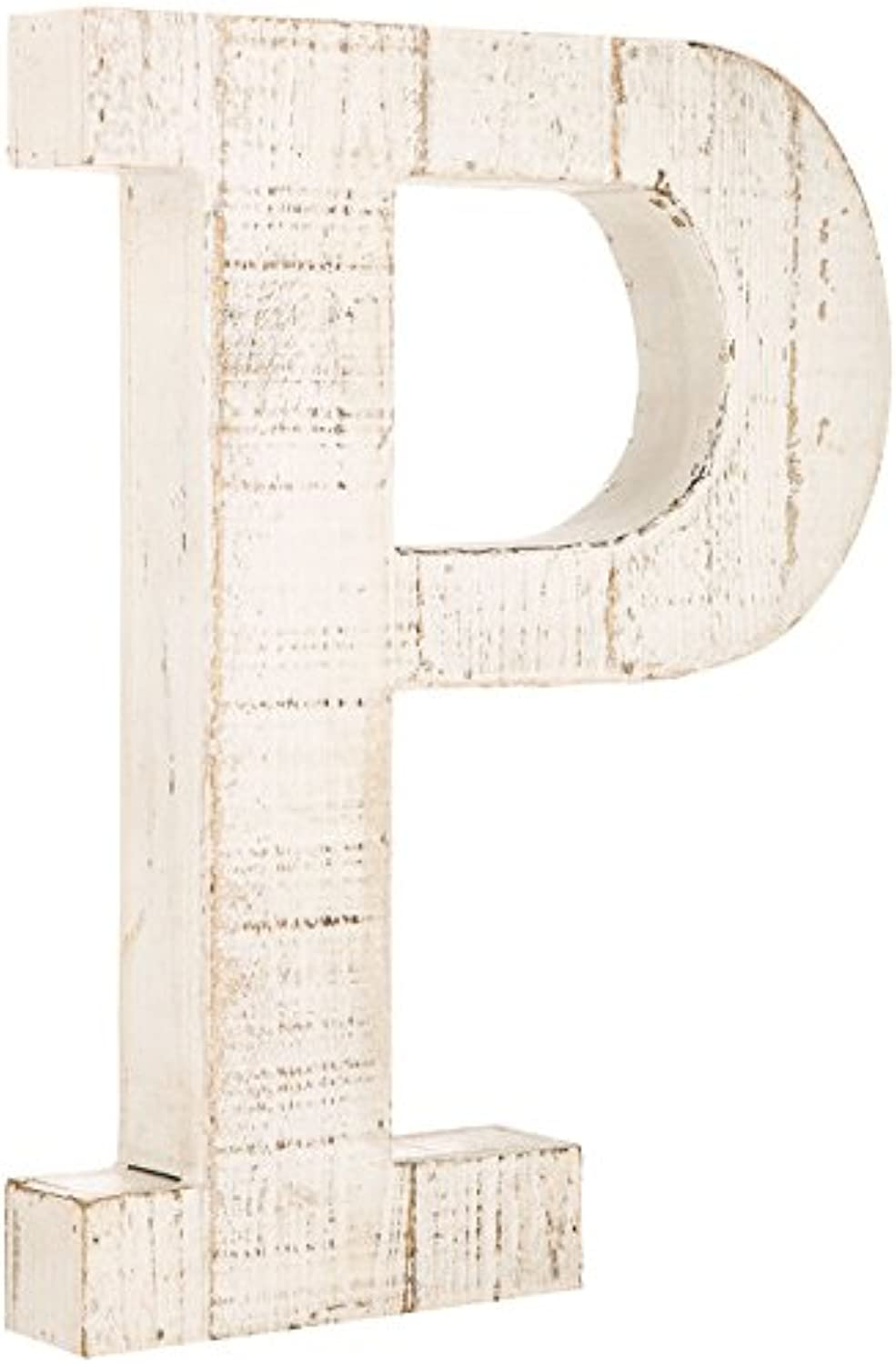 Distressed White Alphabet Wall Décor Free Standing Monogram Letter P
