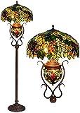 Dxg Lámparas de pie, 20 Pulgadas Tiffany Floor Lámpara de Vidrio Color Color Color Color European Classical Lave Sala de Estar Dormitorio Lámpara de Mesa Vertical