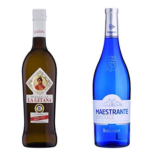 Manzanilla La Gitana y Maestrante Semidulce - D. O. Manzanilla de Sanlúcar de Barrameda y Vino Blanco - 2 botellas de 750 ml