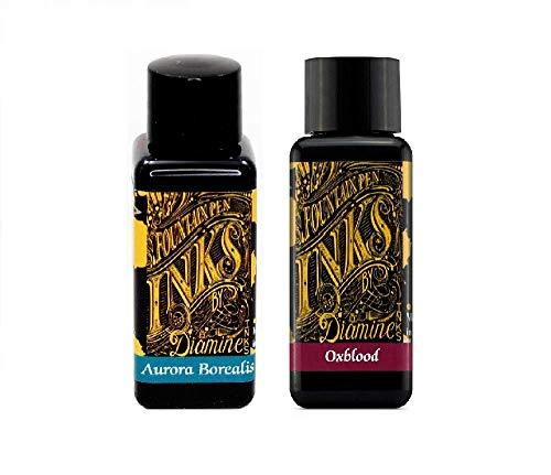 Diamine Oxblood & Aurora Borealis - Tinta para pluma estilográfica (30 ml, 2 unidades)