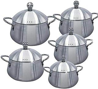Royal NBL 5 Pieces Belly Shape Aluminium Cookware Set With 5 Lid, Aluminium Cooking Pot Set