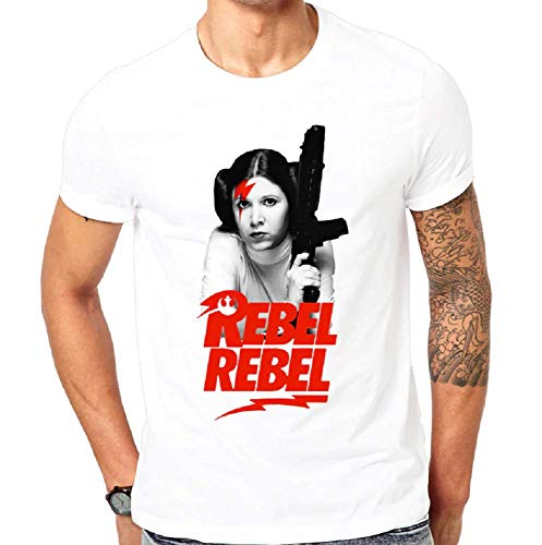 Camiseta Hombre - rebelde rebelde - Princesa Leila - David Bowie - niño - Color Blanco