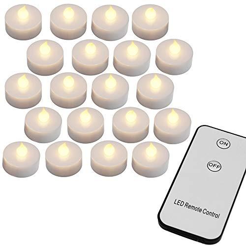 20 x LED Teelichter Set mit Fernbedienung & Batterien Flackernd Warmweiss Elektrische Kerzen Teelicht Flammenlos