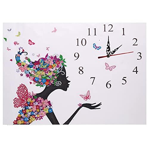 Cuadro de diamantes 5D grande, juego de pintura de diamantes, mariposa, hada, diamante, reloj de pared, reloj de pared, reloj de pared, DIY, cristal, estrás, pintura artesanal, equipo de decoración