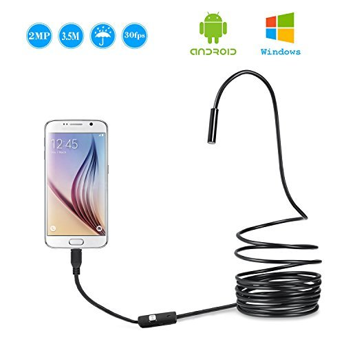 USB Endoscope, Invin 2 in 1 Semi-rigid Borescope Inspection Camera 2.0 Megapixels CMOS HD Waterproof Snake Camera with USB Adpater and Adjustable LED Light - 3.5 Meter