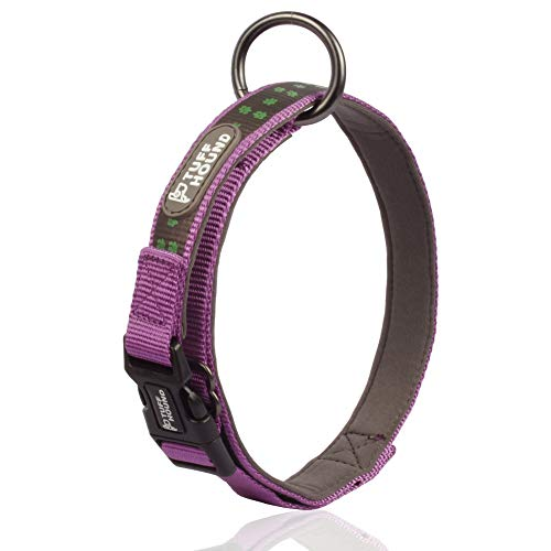 PETTOM Hundehalsband Verstellbare Nylonband Kragen gepolstert atmungsaktive Anti-Choke Anti-Reiben Mesh mit Ring Reflektierend Halsband Robust Nylon