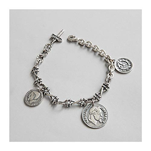 Lotus Fun S925 Sterling Silber Armband Retro Napoleon-Avatar Münzen Etiketten Ketten Armbänder Natürlicher Handgemachter Einzigartiger Schmuck für Frauen und Mädchen