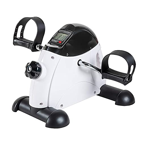 Under Desk Bike Pedal Exerciser - TABEKE Mini Exercise Bike for Arm/Leg Exercise, Pedal Exerciser for Seniors with LCD Display (White)