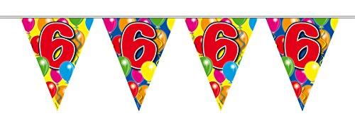 10m Girlande Zahl 6 Geburtstag Jubiläum Wimpelkette