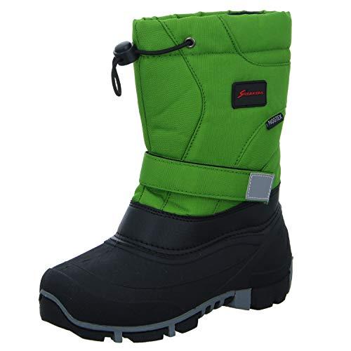 Sneakers Kinder Stiefel ZW-003-GR Allwetterstiefel Winterboots Warmfutter Tex-Membran Grün Schwarz Größe 30 EU
