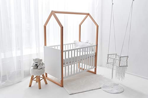 Wooden Cot Bed/Toddler'Little House' + Free Teething Rails + Safety Wooden Barrier
