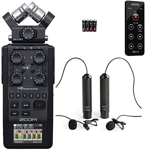 Zoom H6 Six-Track Portable Handy Recorder Bundle with Movo Remote Control, Omnidirectional, and Cardioid XLR Lavalier Microphones