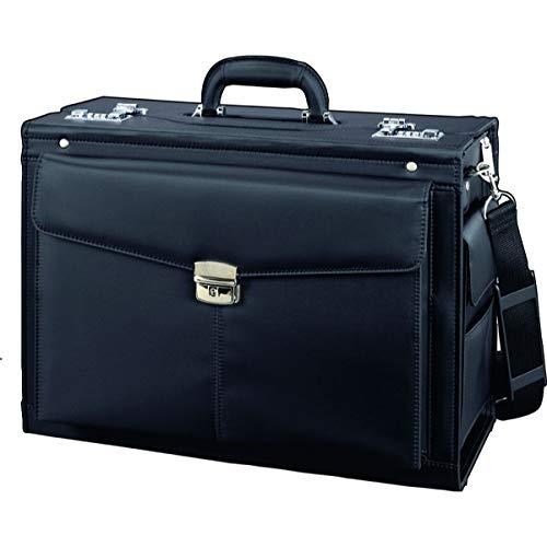 Alassio Pilotenkoffer Rocca II, Businesskoffer aus Mikrofaser, Handgepäck Aktenkoffer mit Tragegurt Koffer, 46 cm, 35 Liter, Schwarz