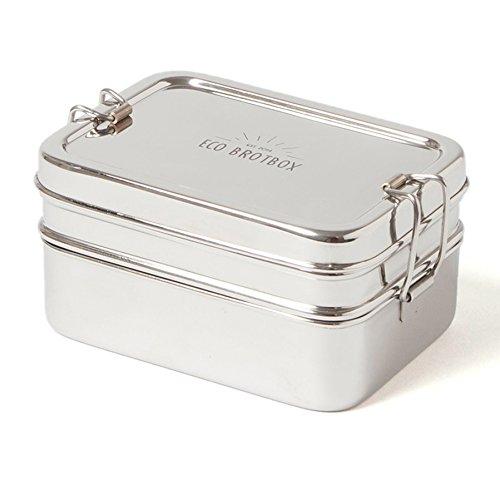 ECO Brotbox | Dabba Magic | zweilagige Brotdose + Snackbox aus Edelstahl | 900 ml