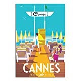 ASFGH Cannes Ponton Vintage-Reise-Poster, Dekoration,