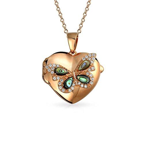 Bling Jewelry Gravierbare Abalone Muschel Cz Schmetterling Herz Form Anhänger Halskette Medaillon Für Frauen Rose Vergoldet 925 Sterling Silber