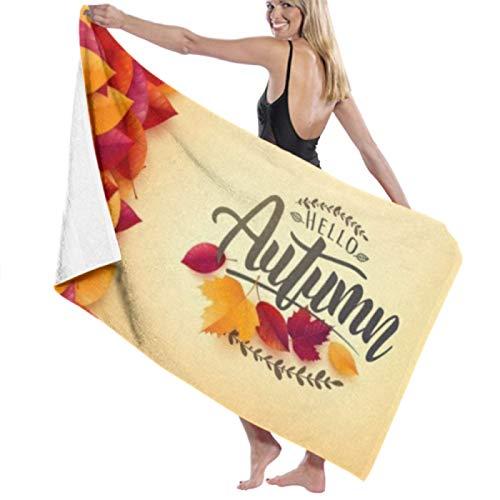 Toalla de playa de microfibra, cartel de otoño Plantilla de pancarta Hojas de colores Toallas de baño Toallas de viaje ligeras de secado rápido Toalla de baño de playa ultra absorbente Toalla de pisc