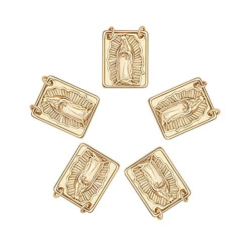 Airssory - 5 piezas rectangulares con dijes de crucifijo de latón de la Virgen María, centro de mesa de rosario, colgantes pequeños para collar, pulsera, joyería, suministros para hacer - 18 x 14 mm