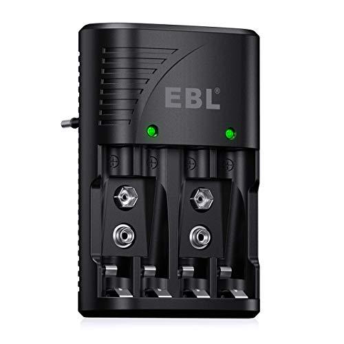 EBL Akku Ladegerät für NI-MH AA/AAA Akku 9V Akku Schnell Ladegerät 4 Fach Batterie Ladegerät für wiederaufladbare-Batterien schnelle Aufladung mit LED Anzeige