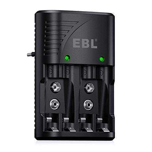 EBL Multifuncional Cargador de Pilas, Rápido Cargador Plug para AA AAA Ni-MH Ni-CD 9V Pilas Recargables con Indicadora LED, 100-240 V CA