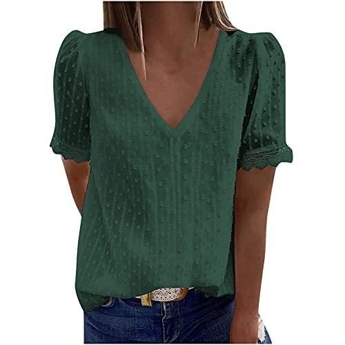 WANGTIANXUE Camiseta de verano para mujer, cuello en V, parte superior de encaje, ganchillo, túnica, blusa para mujer, monocolor, elegante, manga corta y parte superior jacquard, ropa de calle verde S