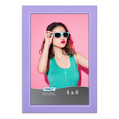 Icona Bay 4x6 Picture Frames, Colored Solid Wood Frame for Photo, Pizzazz Collection (Purple, 1 Pack)