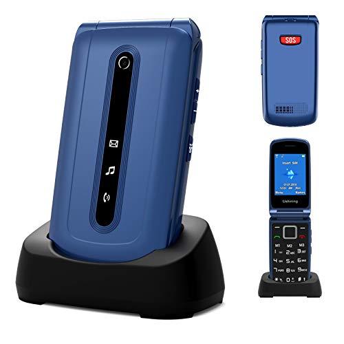 GSM Telefono Cellulare per Anziani, Ukuu Cellulare per Anziani con Tasti Grandi 2,4'' Display Funzione SOS 1000mAh Batteria Lungo Standby Batteria di Grande con Base di Ricarica Facile da Usare, Blu