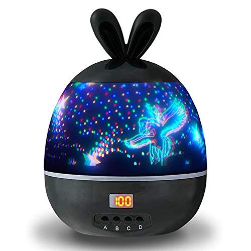 BOYATONG Baby-Nachtlicht,360 Grad drehbarer LED sternenhimmel projektor,das automatisch ausgeschaltet werden kann Schlaflicht,für Geburtstag,Weihnachten【Weiß oder schwarz zufällig】