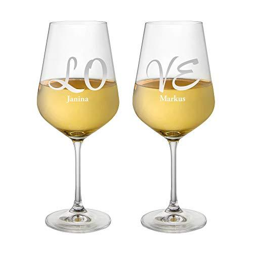 AMAVEL Set 2 Calici da Vino Bianco con Incisione Elegante Love Personalizzata con Nomi, Bicchieri in Vetro, Regali Romantici per Coppie, ca. 644 ml