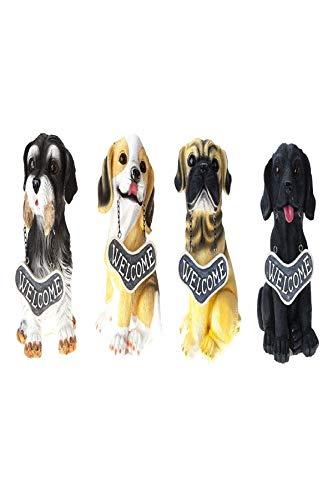 Roots & Shoots Welcome Dogs - Juego de 4 adornos para jardín (18 cm, diseño de perro de bienvenida, diseño de perros)