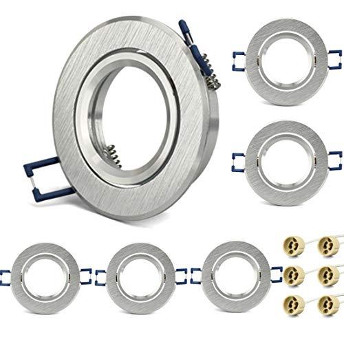 KYOTECH Einbauleuchten rahmen GU10 6er Set Gebürstetes Aluminium Drehwinkel bis zu 45 ° Einbauspots Einbauleuchten für Halogen Leuchtmittel LED-Modul MR16, inkl. GU10 Fassung für 230V