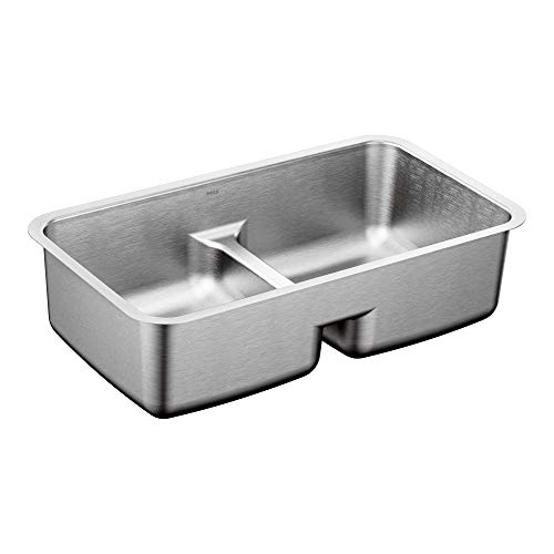 "Moen G18252 1800 Series 32"" x 18"" Steel 18 Gauge Double Bowl Sink Featuring Low-Profile Divide, Stainless"